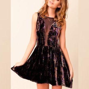 NEW For Love & Lemons Lulu Velvet Mesh Dress M